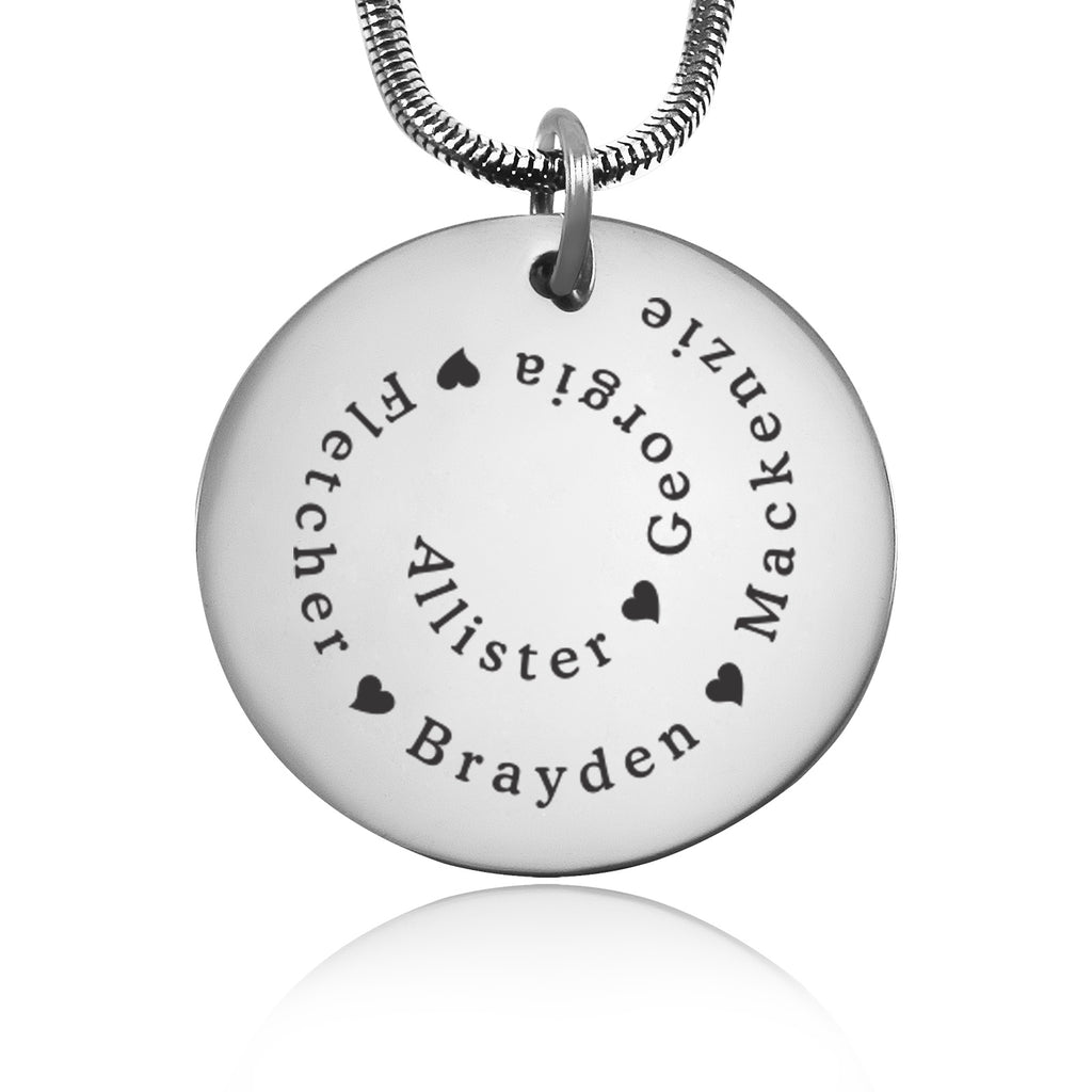 Swirls of Time Disc Necklace personalized Belle Fever 2