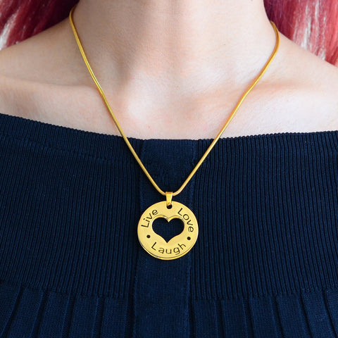 Personalized Live Laugh Love Cut Out Necklace Gold Belle Fever 5