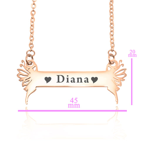 Fairy Name Bar Necklace -Rose Gold Personalized Belle Fever 5