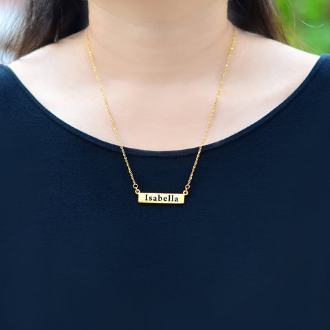 The Jess Name Bar Necklace Personalized Belle Fever 5