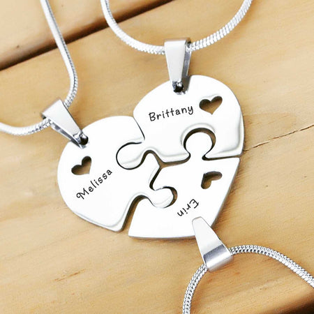 Triple Heart Puzzle - Three Personalized Necklaces