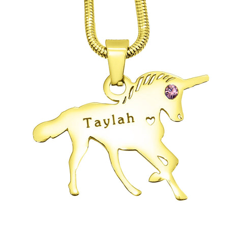 Unicorn Necklace Gold Personalized Belle Fever 3