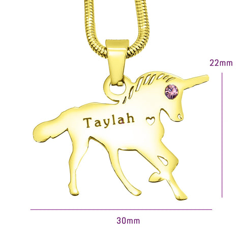 Unicorn Birthstone Necklace Gold Belle Fever 6