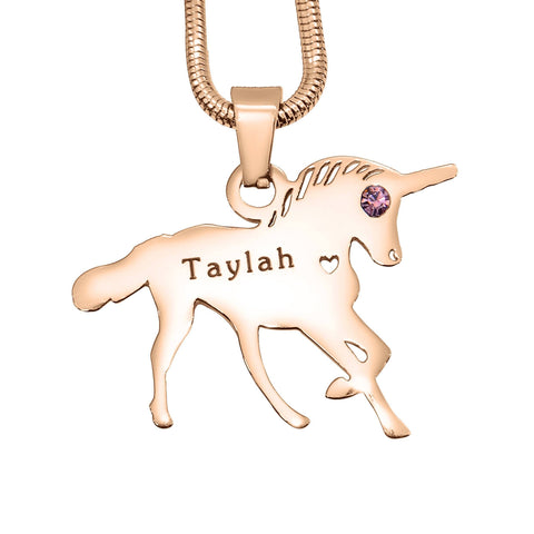 Unicorn Necklace Rose Gold Personalized Belle Fever 4