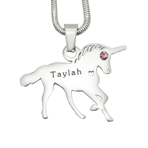 Unicorn Necklace Silver Personalized Belle Fever 2