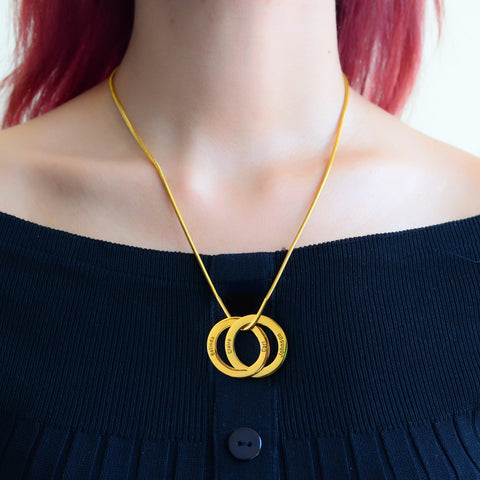 Interlinked Russian 2 Rings Necklace