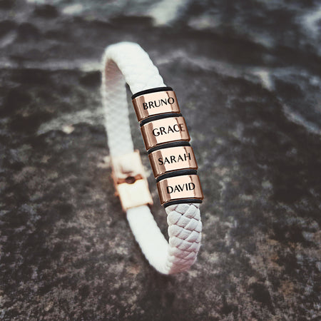 Personalized White Leather Bracelet