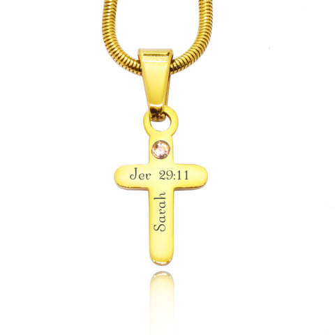 Cross Birthstone Necklace-Gold- BELLE FEVER Personalised Jewellery