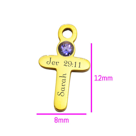 Cross Charm Birthstone for Dream Locket-Silver- BELLE FEVER Personalised Jewellery