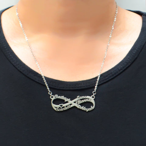 Double Infinity Name Necklace-Silver- BELLE FEVER Personalised Jewellery