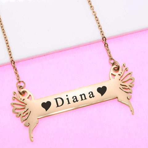 Fairy Name Bar Necklace Personalized Belle Fever 1