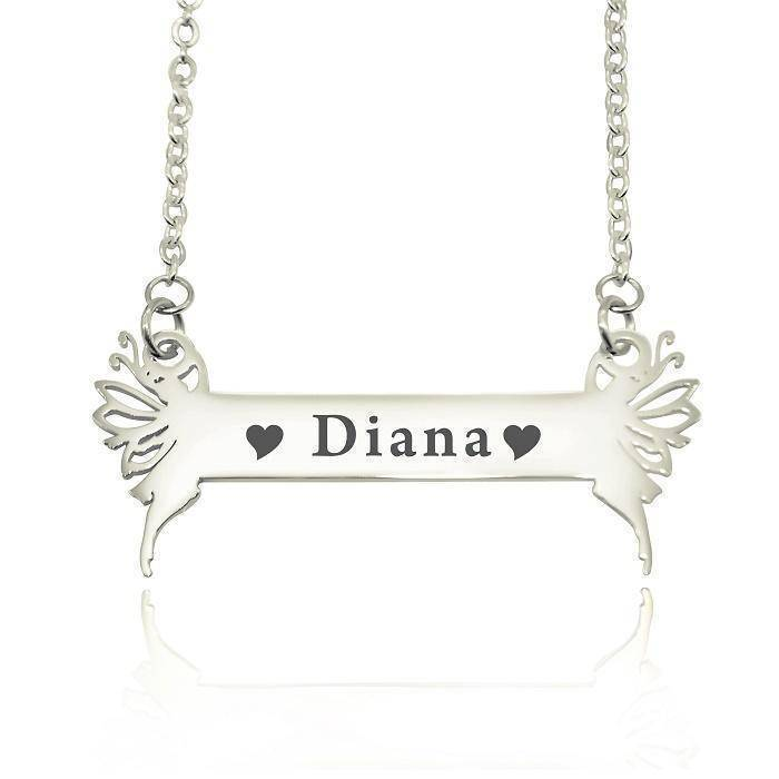 Fairy Name Bar Necklace -Silver Personalized Belle Fever 2