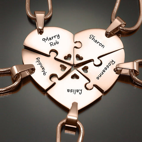 Penta Heart Puzzle - Five Personalized Necklaces Belle Fever