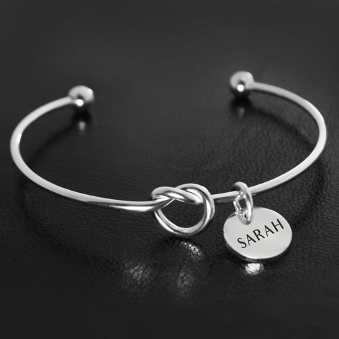 Knot Bangle (Disc Optional)-Silver- BELLE FEVER Personalised Jewellery