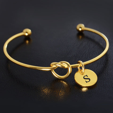 Knot Bangle (Disc Optional)-Gold- BELLE FEVER Personalised Jewellery