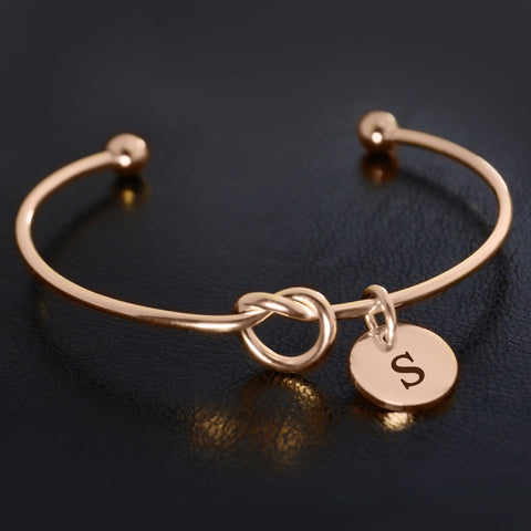 Knot Bangle (Disc Optional)-Rose Gold- BELLE FEVER Personalised Jewellery