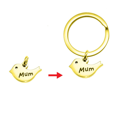 Personalized Mother Bird Charm for Keyrings Gold Belle Fever 4