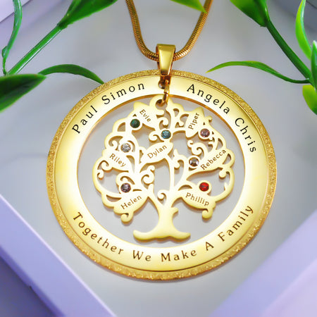 Sparkling Tree of My Life Washer Birthstones Necklace Belle Fever