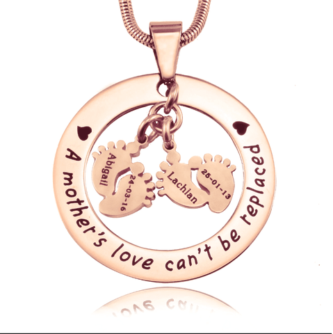 Cant Be Replaced Necklace Double Feet 12mm Rose Gold Personalized Belle Fever 4