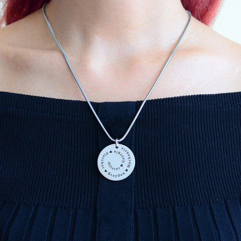 Swirls of Time Disc Necklace personalized Belle Fever 5