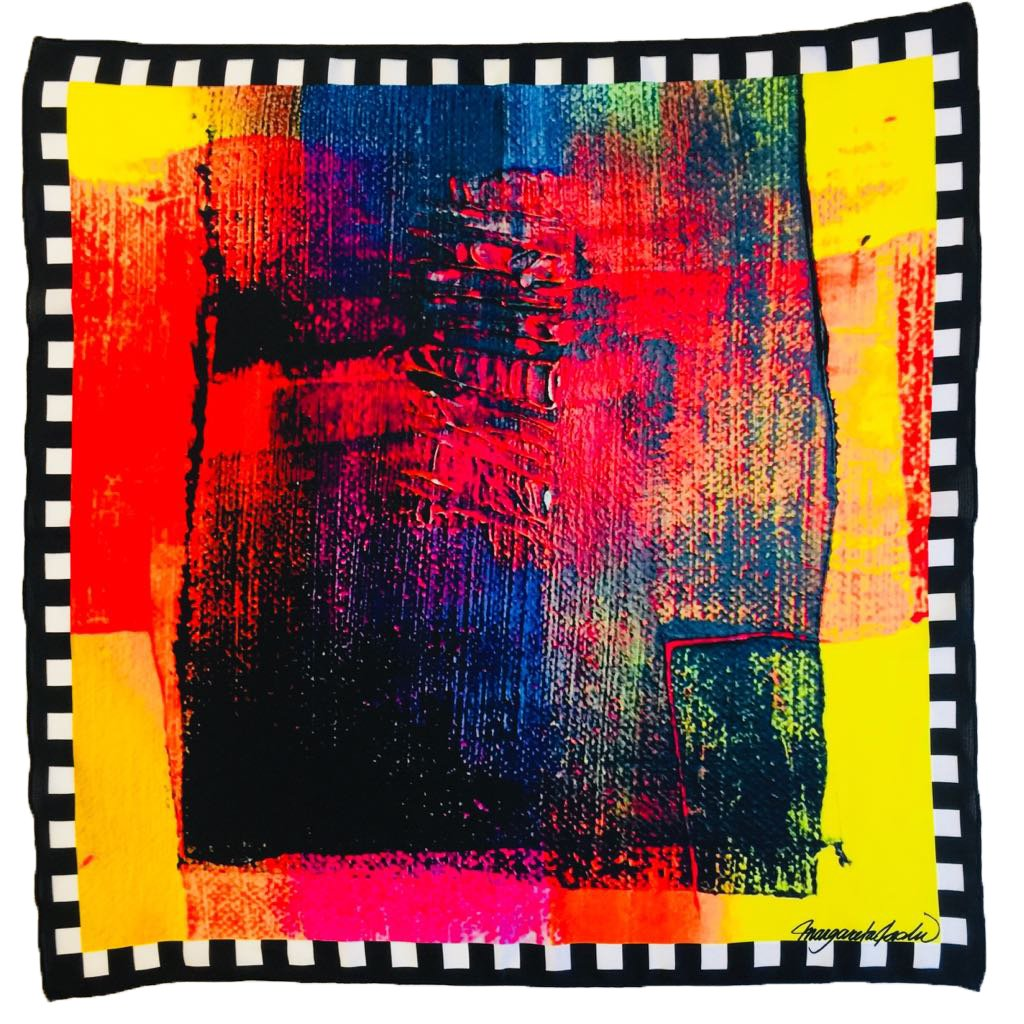 Yellow frame Art scarf
