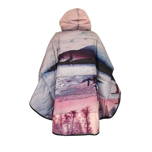 Downfilled Duck Poncho Nordic Snowy Landscape