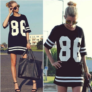 86 Numbers Woman's Print Basketball Loose T Shirt - cybershoestore.com