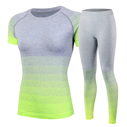 Women's tracksuits Yoga Sets Breathable Sport Suit Fitness Gym Running Set Yoga Shirt Top Pants Green Yoga For Girls - cybershoestore.com