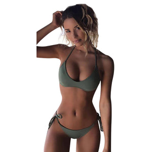 Women Bikini Set Swimwear Push-Up Padded Solid Bra Swimsuit Beachwear - cybershoestore.com