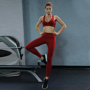 Fitness Yoga Set Push Up Running Top Long Pants Sport Suit Women Gym Sports Bra+Leggings Two Pieces Set Dancing Suit Sportswear - cybershoestore.com