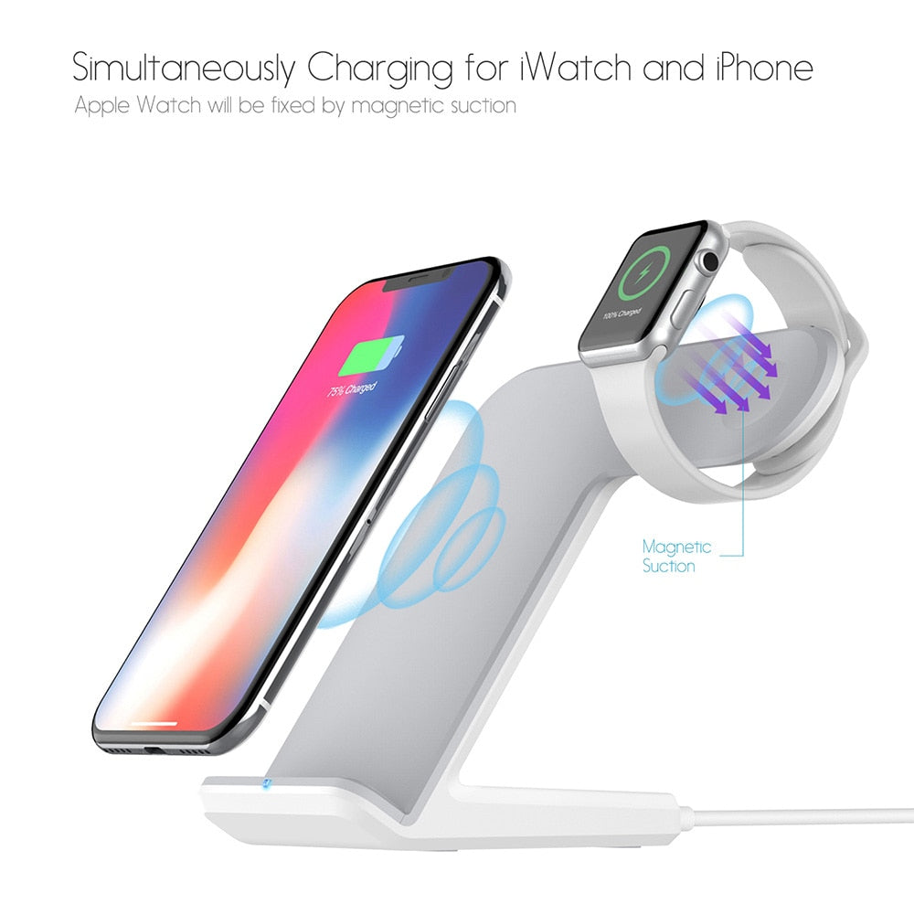 DCAE 2 in 1 Qi Wireless Charger For iPhone X XS Max XR 8 Plus 10W Fast Charging Holder For Apple Watch 4 3 2 For Samsung S9 S8 - cybershoestore.com