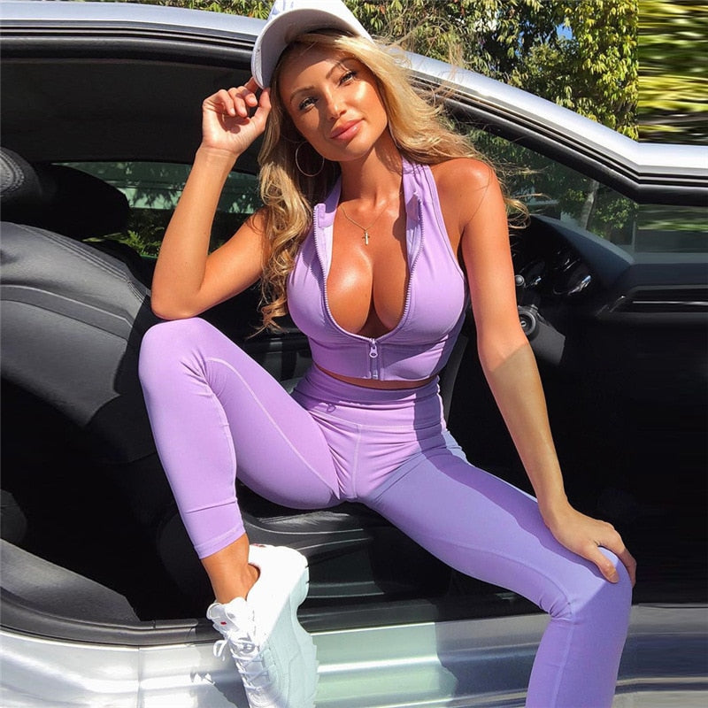 Women Zipper Sleeveless Crop Top + Leggings Yoga Sets Gym Wear Fitness Suit Sport Outfit