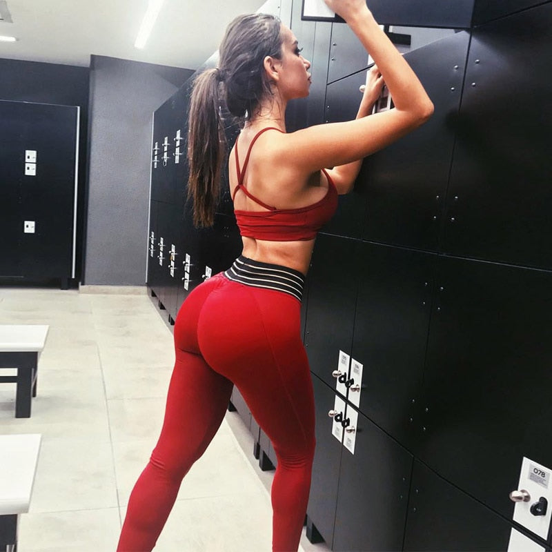 Fitness Set Yoga Bra Suits Sport Set  Sport Training Wear Fitness Clothing  Athletic Leggings Top Bra Women Sexy Red Gym - cybershoestore.com