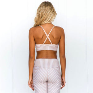 Printed Fitness Sports Suit Clothing Cute Sexy Yoga Set Stripe Gym Woman Sportswear Sport Workout Clothes - cybershoestore.com