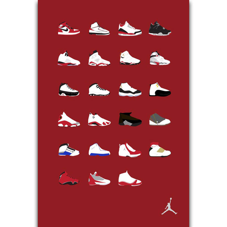 S2672 Michael Jordan Shoes Sneaker Fashion History Wall Art Painting Print On Silk Canvas Poster Home Decoration - cybershoestore.com