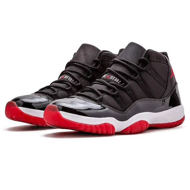 Nike Air Jordan XI Bred AJ 11 Original New Arrival Men Basketball Shoes Comfortable Lifestyle Sports Sneakers - cybershoestore.com