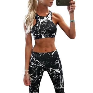 Fashion Active Women Yoga Suit High Waist Bra+leggings Clothing Black&white Fitness Workout Gym 2 Piece Jumpsuit Sport Set - cybershoestore.com