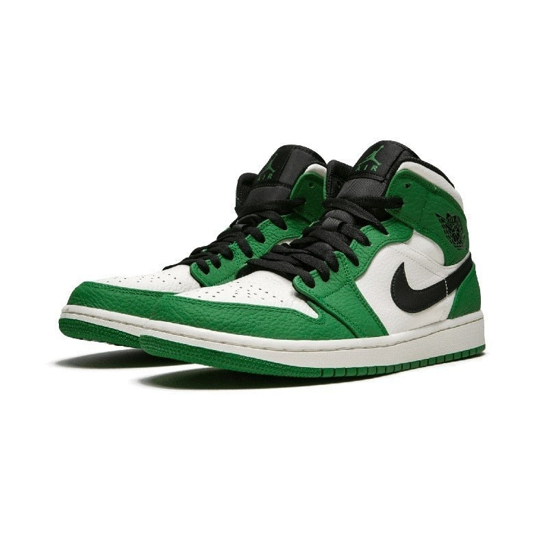 Air Jordan 1 Mid Aj1 New Arrival Men Basketball Shoes White Green Comfortable Shoes Outdoor Soprts - cybershoestore.com