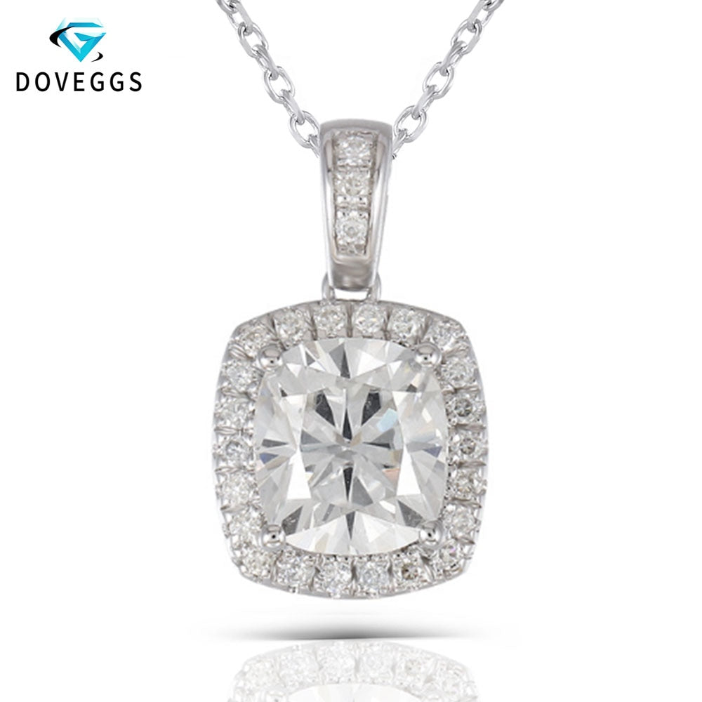 Platinum Plated Silver Necklace 2.18CTW 7X8mm H Nearly Colorless Cushion Cut Moissanite Halo Pendant Necklace for Women