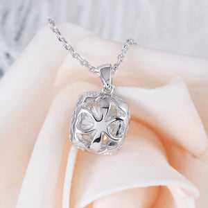 Platinum Plated Silver Necklace 2.18CTW 7X8mm H Nearly Colorless Cushion Cut Moissanite Halo Pendant Necklace for Women - cybershoestore.com