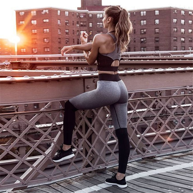 Sexy Women Gym Yoga Suit Outfit Solid Patchwork Ensemble Jogging 2 Piece Bra+pants Exercise  Fitness  Sport Suit