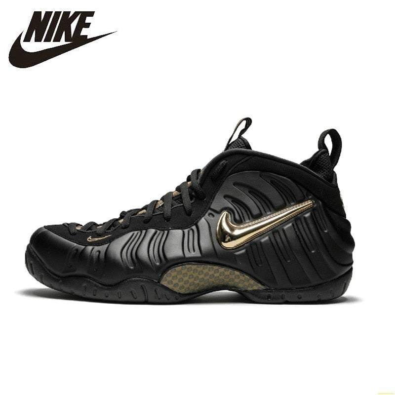 Nike Air Foamposite Black Gold Bubble New Arrival Men Basketball Shoes Original Comfortable Air Cushion Sneakers