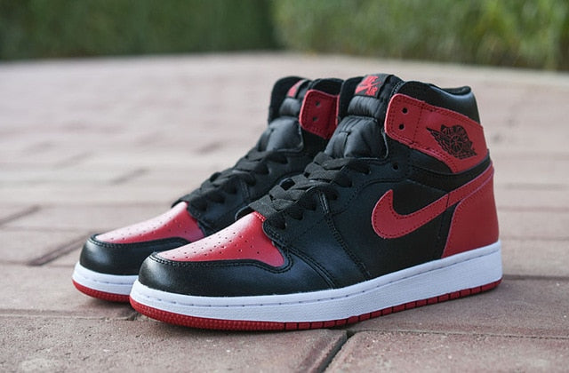 Air Basketball Jordan 1 Retro High-top OG Authentic Red White Breathable Mens Shoes Sneakers women Men - cybershoestore.com