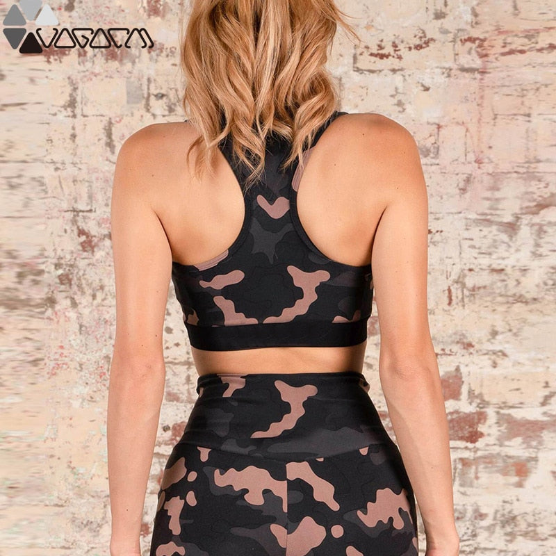 Camouflage Gym Outfit Fitness Women Jumpsuit Zipper Front Sexy Deep V Exercise Clothes Yoga Girl Ensemble Jogging Gym Wear Femme - cybershoestore.com