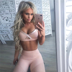 Workout Clothes Women Pink Yoga Set Woman Sportswear Fitness Suit Female Leggings Sports Bra Sport Outfit - cybershoestore.com