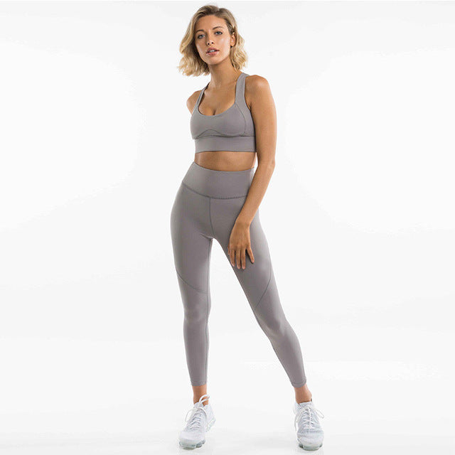Solid Yoga Suit Sleeveless Workout Clothes For Women Fashion Sport Leggings Bras Suit Yoga Set Fitness Gym Wear - cybershoestore.com