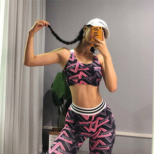 Active Women Sexy Yoga Sport Suit High Waist Sling Print Bra+pants 2 Piece Fitness Jumpsuit Pink Gym Outfit Ropa Mujer - cybershoestore.com