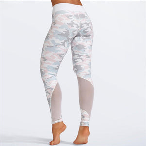 Sexy Women Gym Yoga Suit Clothing Bra+pants 2 Piece Camouflage Mesh Patchwork Fitness Female Set Sport Outfit - cybershoestore.com