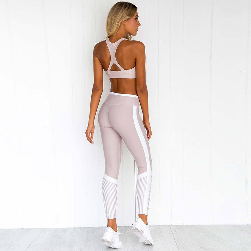 Striped Yoga Suit Sleeveless Workout Clothes For Women Fashion Sport Leggings Bras Suit Yoga Set Fitness Gym Wear - cybershoestore.com
