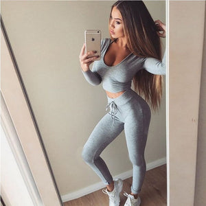 Women 2 Piece Set Sportswear Black Grey Tracksuit  Short Top + Long Pants Sexy Yoga Set Fitness Suit Yoga costume - cybershoestore.com